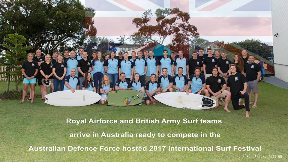 RAF & British Army Surf Teams arrive in Australia ready to compete in the Australia Defence Force hosted International Surf Festival